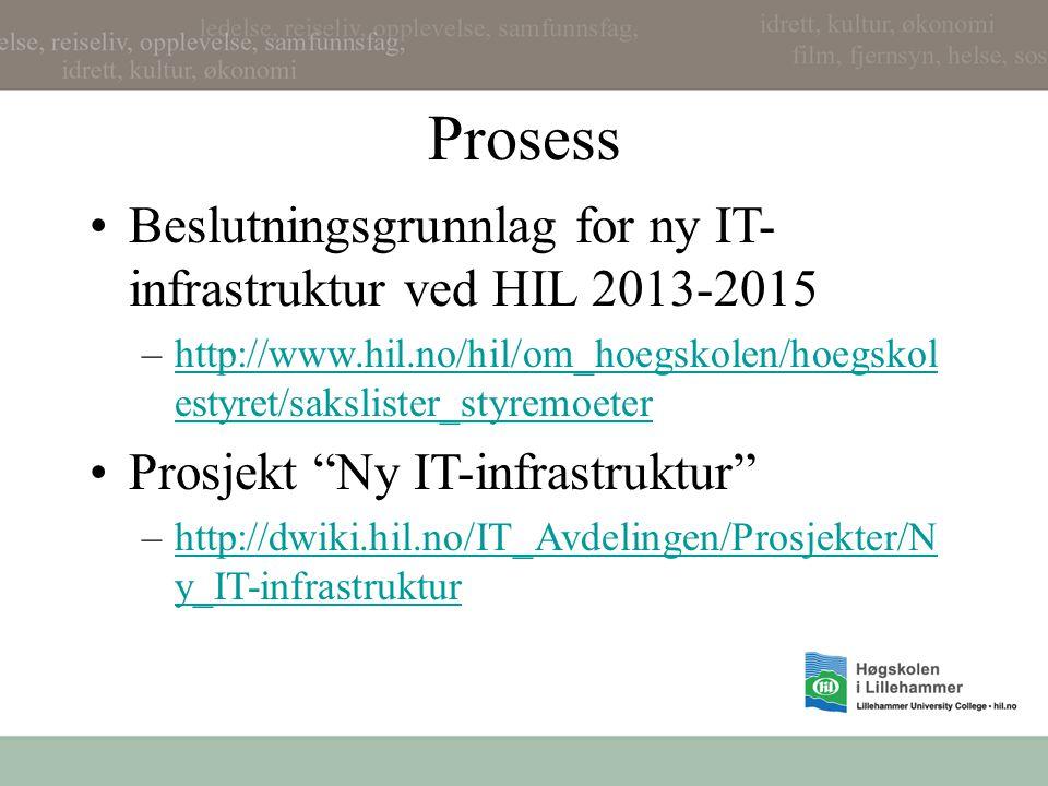 Ny IT infrastruktur på HIL http://dwiki.hil.no/IT_Avdelingen/Prosjekter/Ny_IT- infrastruktur
