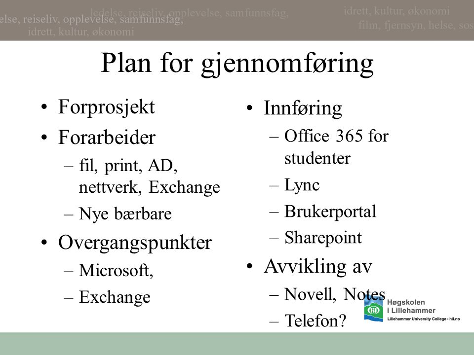 Plan for gjennomføring •Forprosjekt •Forarbeider –fil, print, AD, nettverk, Exchange –Nye bærbare •Overgangspunkter –Microsoft, –Exchange •Innføring –Office 365 for studenter –Lync –Brukerportal –Sharepoint •Avvikling av –Novell, Notes –Telefon