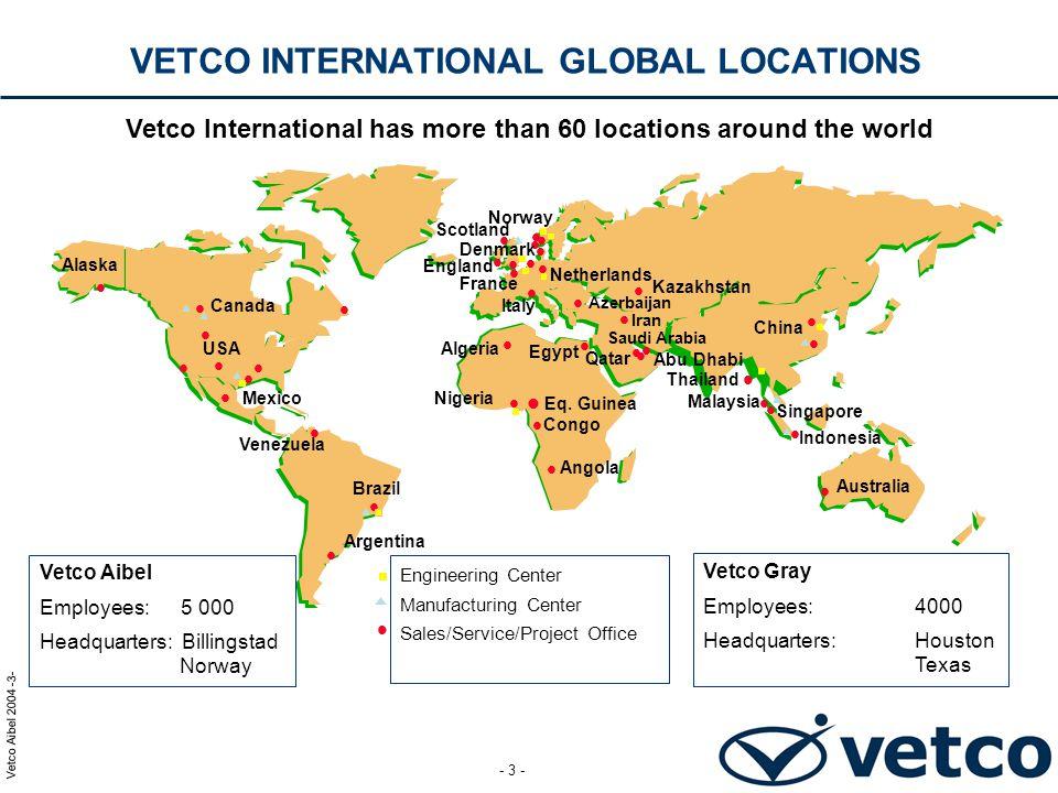 Vetco Aibel 2004 -14- - 14 - TOTAL 1000 HRS Engineering & Procurement219 Construction (Direct man-hours)542 Other97 TOTAL858 PLANLAGTE TIMEVERK ORMEN LANGE ONSHORE FACILITIES MEG REGENERATION AND CONDENSATE EXPORT SYSTEMS PROJECT PROJECT PRESENTATION