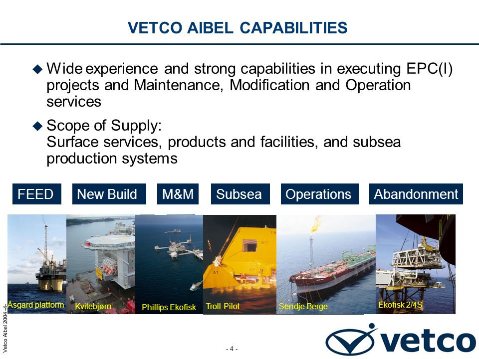 Vetco Aibel 2004 -5- - 5 - VETCO AIBEL - FACTS AND FIGURES  Established in 17 countries  Approximately 5,000 employees  in Norway 3,500  Annual revenues of approx.