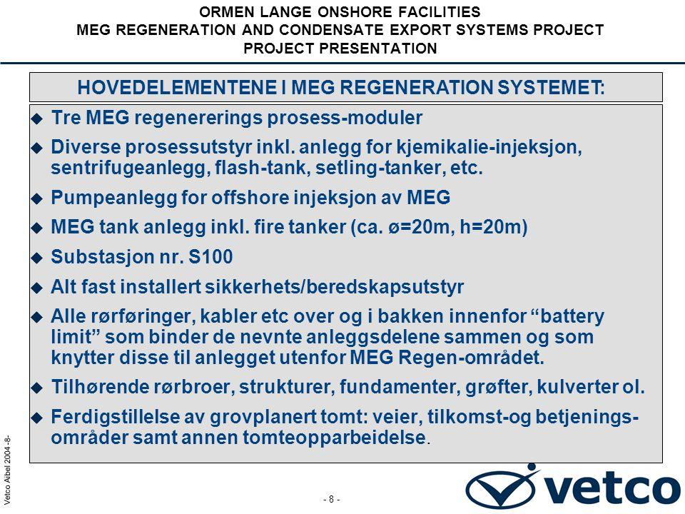 Vetco Aibel 2004 -9- - 9 - ORMEN LANGE ONSHORE FACILITIES MEG REGENERATION AND CONDENSATE EXPORT SYSTEMS PROJECT PROJECT PRESENTATION MEG REGENE- RATION SKIDS MEG STORAGE TANKS SUBSTATION S100 PROCESS & UTILITIES MEG EXP.