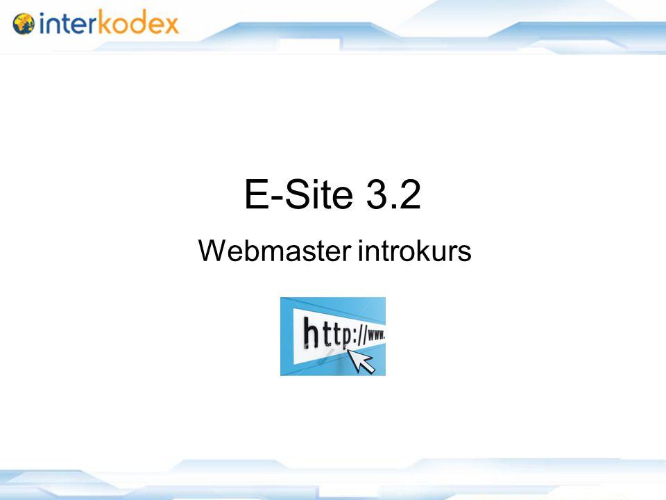 1 E-Site 3.2 Webmaster introkurs