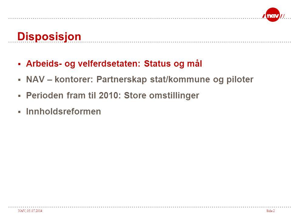 NAV, 05.07.2014Side 33 Dagens system Sykepenger Rehabiliteringspenger Tidsbegrenset uførestønad Uførepensjon Attføringspenger Jobb
