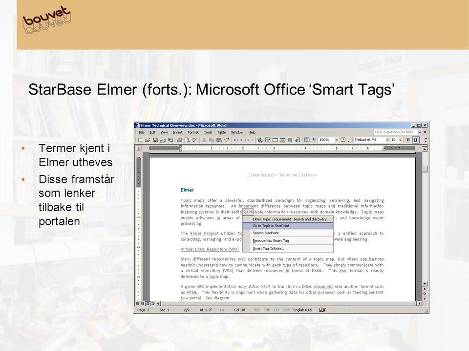 StarBase Elmer (forts.): Microsoft Office 'Smart Tags' •Termer kjent i Elmer utheves •Disse framstår som lenker tilbake til portalen