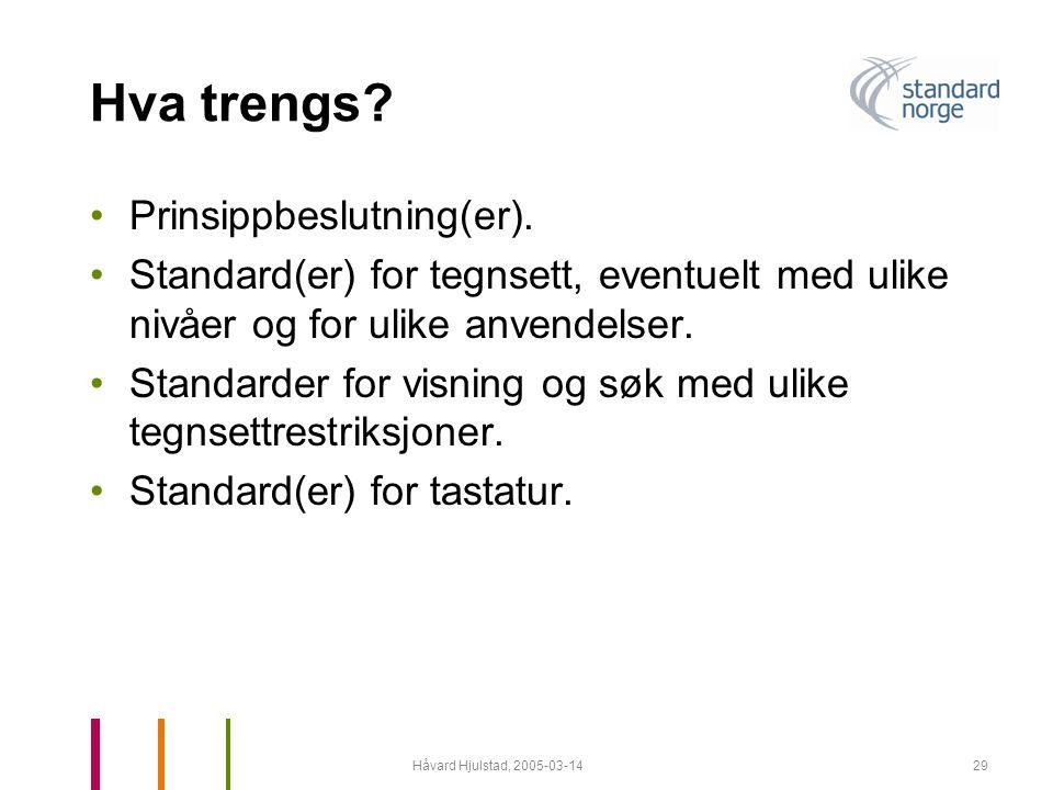 Håvard Hjulstad, 2005-03-1429 Hva trengs? •Prinsippbeslutning(er). •Standard(er) for tegnsett, eventuelt med ulike nivåer og for ulike anvendelser. •S