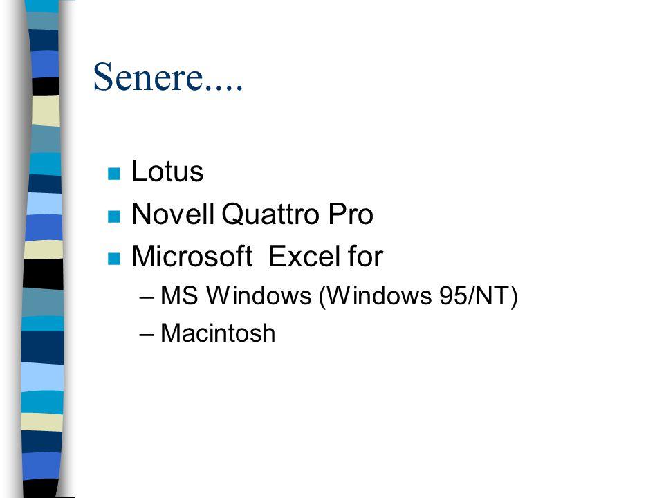 Senere.... n Lotus n Novell Quattro Pro n Microsoft Excel for –MS Windows (Windows 95/NT) –Macintosh