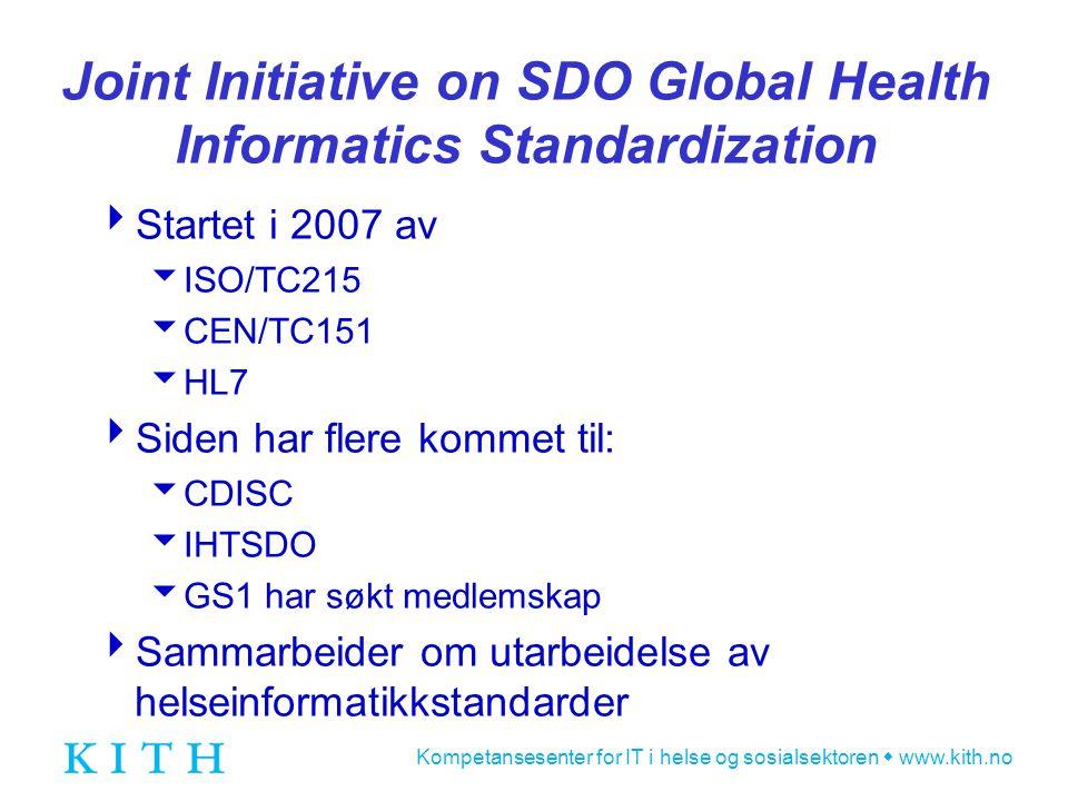 Kompetansesenter for IT i helse og sosialsektoren  www.kith.no Joint Initiative on SDO Global Health Informatics Standardization  Startet i 2007 av  ISO/TC215  CEN/TC151  HL7  Siden har flere kommet til:  CDISC  IHTSDO  GS1 har søkt medlemskap  Sammarbeider om utarbeidelse av helseinformatikkstandarder