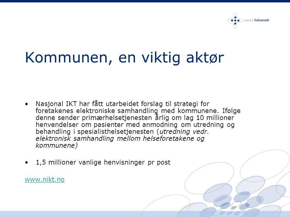 Hvordan komme i gang – hvordan tilknyttes helsenettet •Ta kontakt med Norsk Helsenett for tilgang til kartleggingskjema –Organisasjonsnummer –Kontaktperson med e-post epost: kundesenter@nhn.nokundesenter@nhn.no Tlf: 75 42 58 03