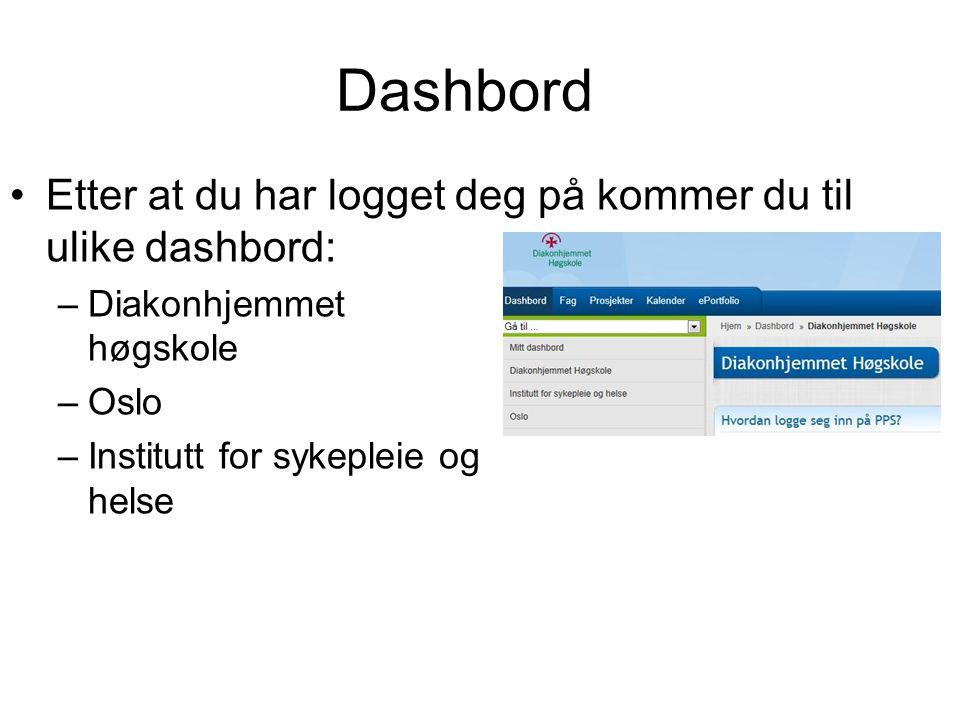 Dashbord •Etter at du har logget deg på kommer du til ulike dashbord: –Diakonhjemmet høgskole –Oslo –Institutt for sykepleie og helse