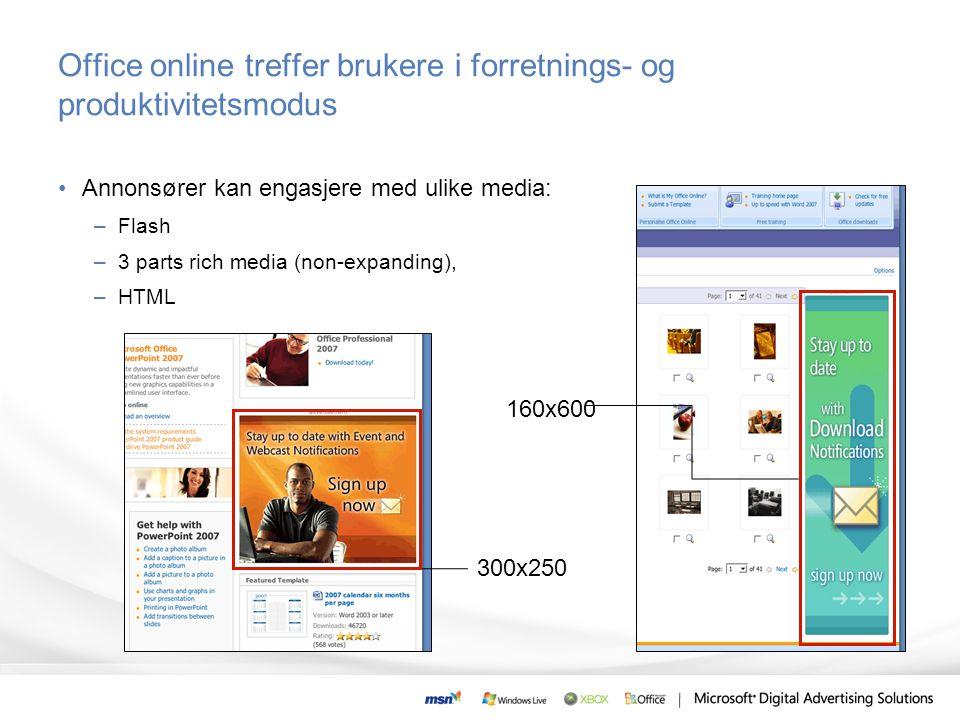 Office online treffer brukere i forretnings- og produktivitetsmodus •Annonsører kan engasjere med ulike media: –Flash –3 parts rich media (non-expandi