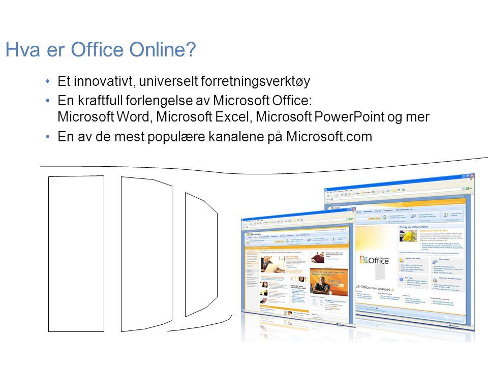 Hva er Office Online? •Et innovativt, universelt forretningsverktøy •En kraftfull forlengelse av Microsoft Office: Microsoft Word, Microsoft Excel, Mi