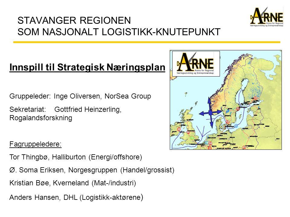 Stavanger regionen som nasjonalt logistikk-knutepunkt Gruppens mandat: Med utgangspunkt i godsforflytning til & fra andre regioner i Norge og Europa forøvrig skal man:  Klarlegge nå-situasjon, sterke/svake sider og foreslå strategiske målsettinger for å bedre næringslivets forbindelseslinjer til sine markeder  Utarbeide strategier som støtter opp under og styrker Stavanger-regionen som et nasjonalt logistikk knutepunkt.