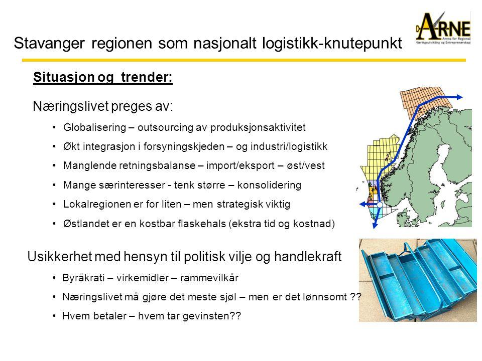 Stavanger regionen som nasjonalt logistikk-knutepunkt Situasjon og trender: Næringslivet preges av: •Globalisering – outsourcing av produksjonsaktivitet •Økt integrasjon i forsyningskjeden – og industri/logistikk •Manglende retningsbalanse – import/eksport – øst/vest •Mange særinteresser - tenk større – konsolidering •Lokalregionen er for liten – men strategisk viktig •Østlandet er en kostbar flaskehals (ekstra tid og kostnad) Usikkerhet med hensyn til politisk vilje og handlekraft •Byråkrati – virkemidler – rammevilkår •Næringslivet må gjøre det meste sjøl – men er det lønnsomt .