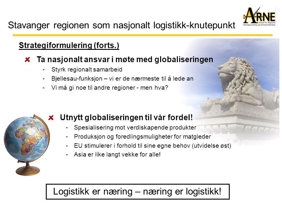 Stavanger regionen som nasjonalt logistikk-knutepunkt Strategiformulering (forts.) Ta nasjonalt ansvar i møte med globaliseringen -Styrk regionalt samarbeid -Bjellesau-funksjon – vi er de nærmeste til å lede an -Vi må gi noe til andre regioner - men hva.