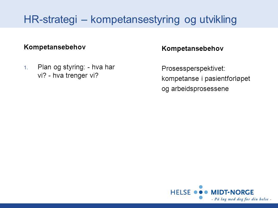 HR-strategi – kompetansestyring og utvikling Kompetansebehov 1. Plan og styring: - hva har vi? - hva trenger vi? Kompetansebehov Prosessperspektivet: