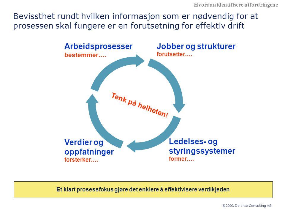©2003 Deloitte Consulting AS Arbeidsprosesser bestemmer….
