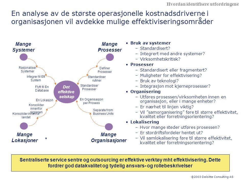 ©2003 Deloitte Consulting AS En analyse av de største operasjonelle kostnadsdriverne i organisasjonen vil avdekke mulige effektiviseringsområder •Bruk av systemer –Standardisert.