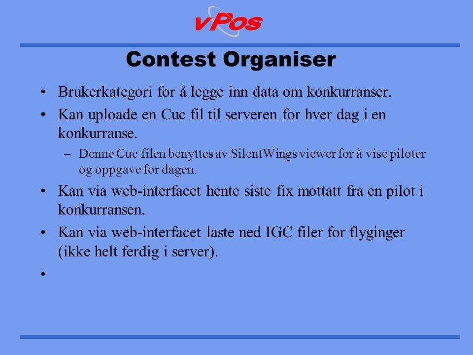 Contest Organiser •Brukerkategori for å legge inn data om konkurranser.