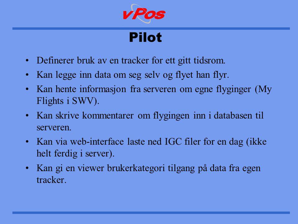 Pilot •Definerer bruk av en tracker for ett gitt tidsrom.