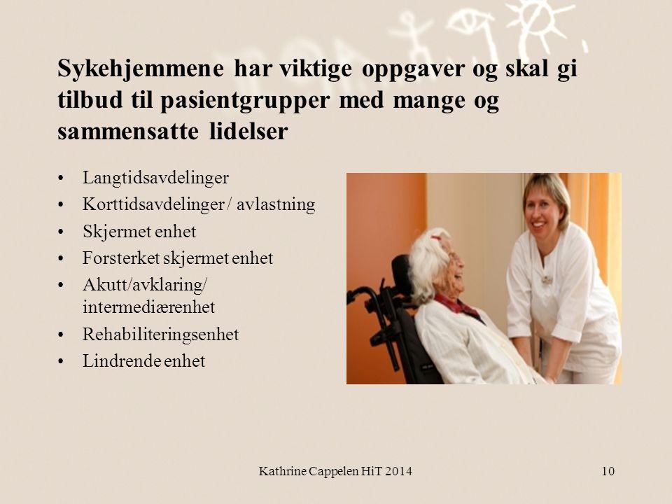 Sykehjemmene har viktige oppgaver og skal gi tilbud til pasientgrupper med mange og sammensatte lidelser •Langtidsavdelinger •Korttidsavdelinger / avl