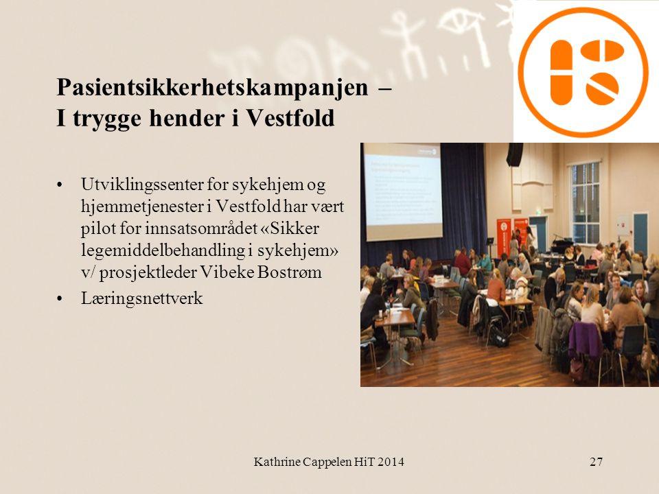 Pasientsikkerhetskampanjen – I trygge hender i Vestfold •Utviklingssenter for sykehjem og hjemmetjenester i Vestfold har vært pilot for innsatsområdet