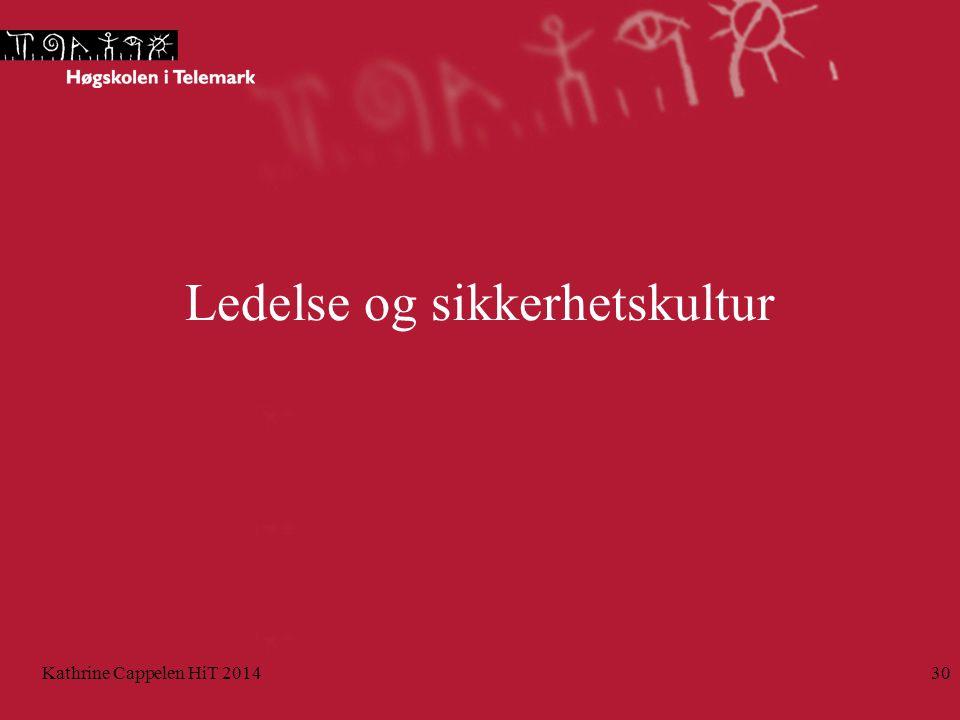 Ledelse og sikkerhetskultur Kathrine Cappelen HiT 201430