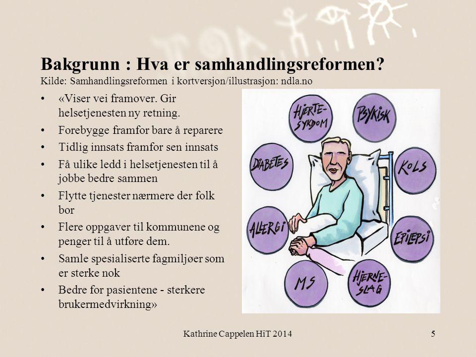 Bakgrunn : Hva er samhandlingsreformen? Kilde: Samhandlingsreformen i kortversjon/illustrasjon: ndla.no •«Viser vei framover. Gir helsetjenesten ny re