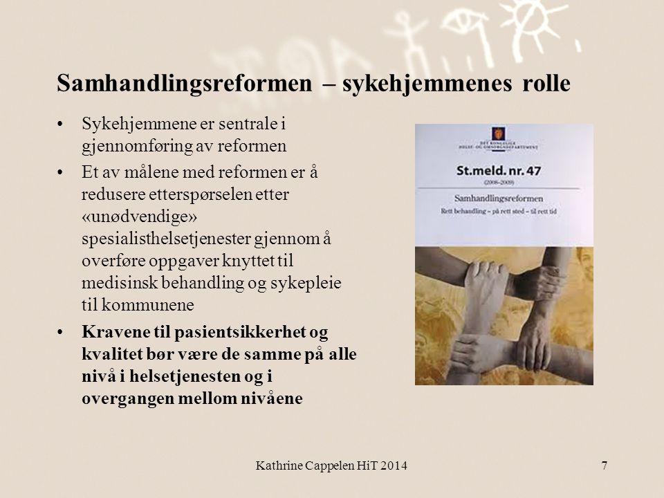 Samhandlingsreformen – sykehjemmenes rolle •Sykehjemmene er sentrale i gjennomføring av reformen •Et av målene med reformen er å redusere etterspørsel