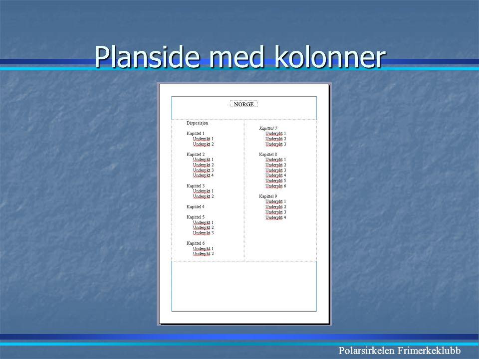 Polarsirkelen Frimerkeklubb Planside med kolonner