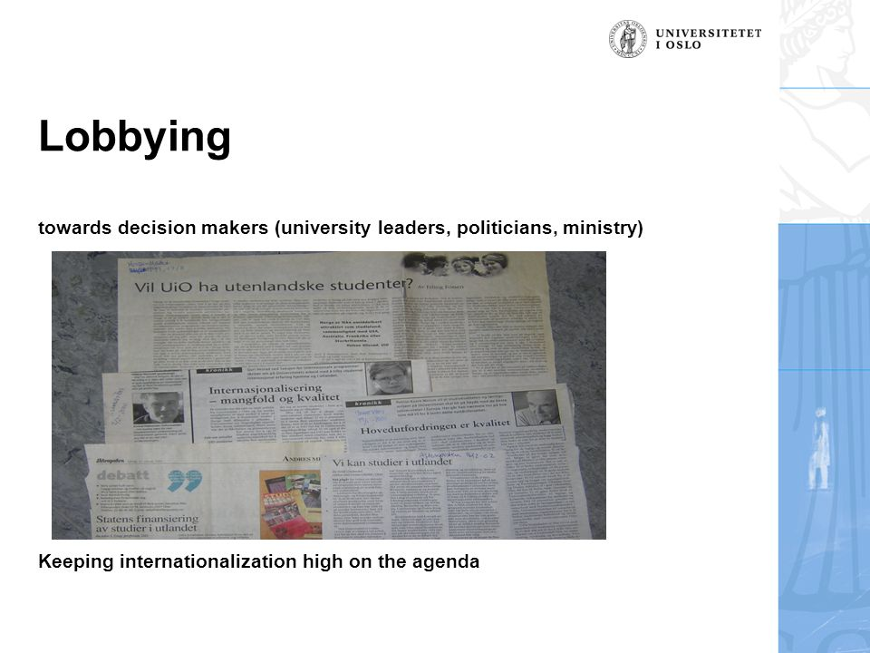 The follow-up on national level  White Paper of May 2001 with strong emphasis on internationalization  The Quality Reform of 2003  Higher Education Reform  Institutional governance structure  New funding system  Increased internationalization