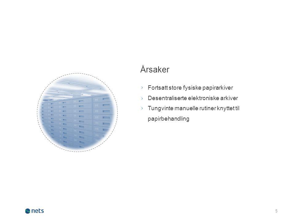 5 Årsaker Fortsatt store fysiske papirarkiver Desentraliserte elektroniske arkiver Tungvinte manuelle rutiner knyttet til papirbehandling ∟ ∟ ∟