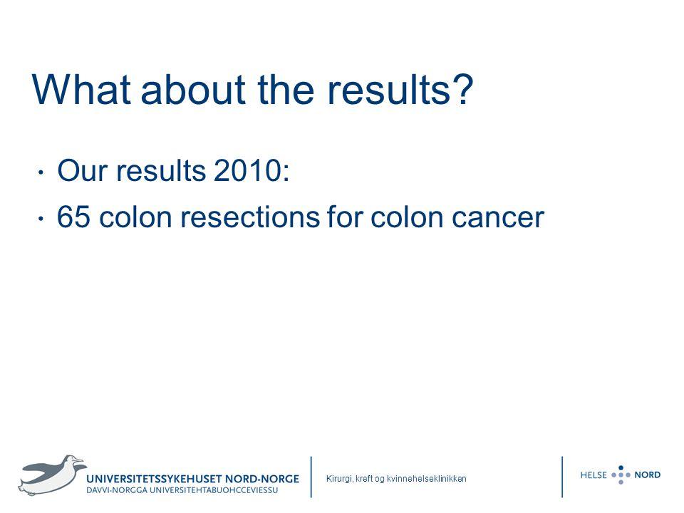 Kirurgi, kreft og kvinnehelseklinikken What about the results? • Our results 2010: • 65 colon resections for colon cancer