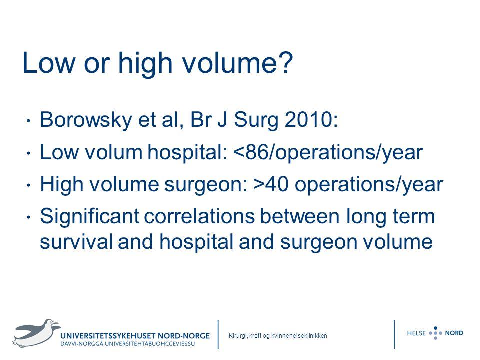 Kirurgi, kreft og kvinnehelseklinikken Low or high volume? • Borowsky et al, Br J Surg 2010: • Low volum hospital: <86/operations/year • High volume s