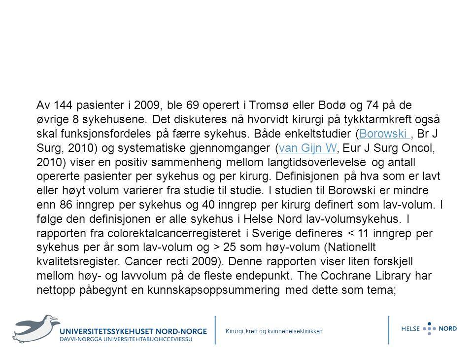 Kirurgi, kreft og kvinnehelseklinikken Av 144 pasienter i 2009, ble 69 operert i Tromsø eller Bodø og 74 på de øvrige 8 sykehusene. Det diskuteres nå