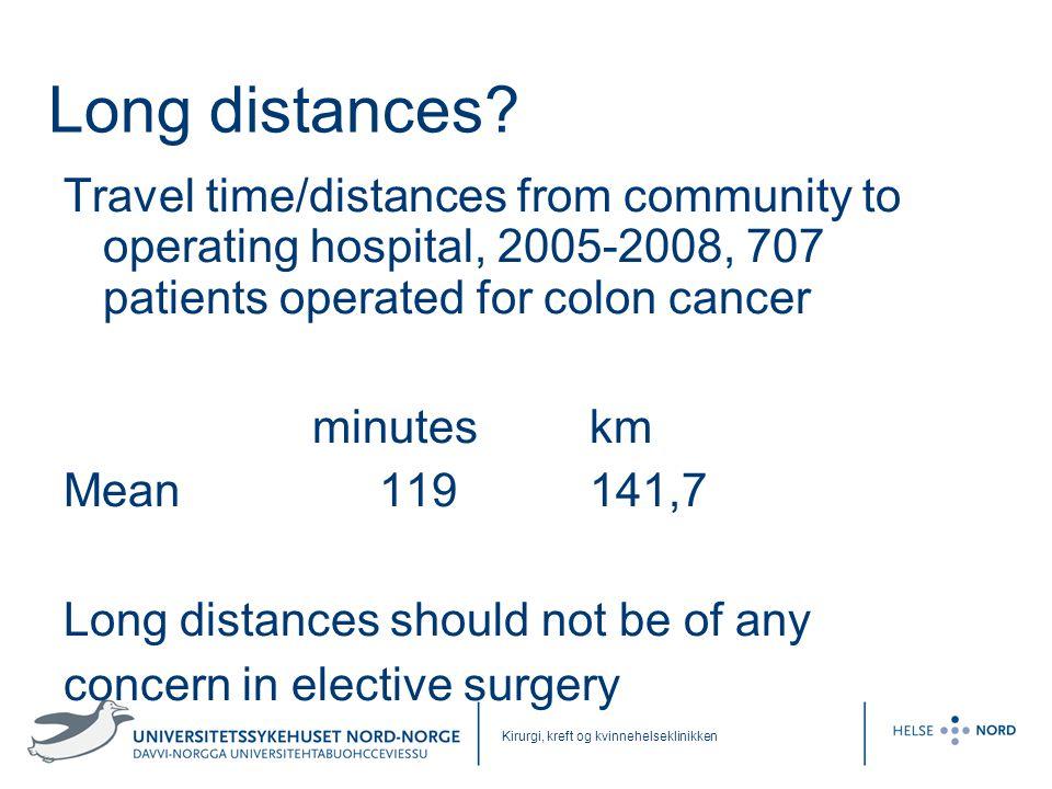 Kirurgi, kreft og kvinnehelseklinikken Long distances? Travel time/distances from community to operating hospital, 2005-2008, 707 patients operated fo