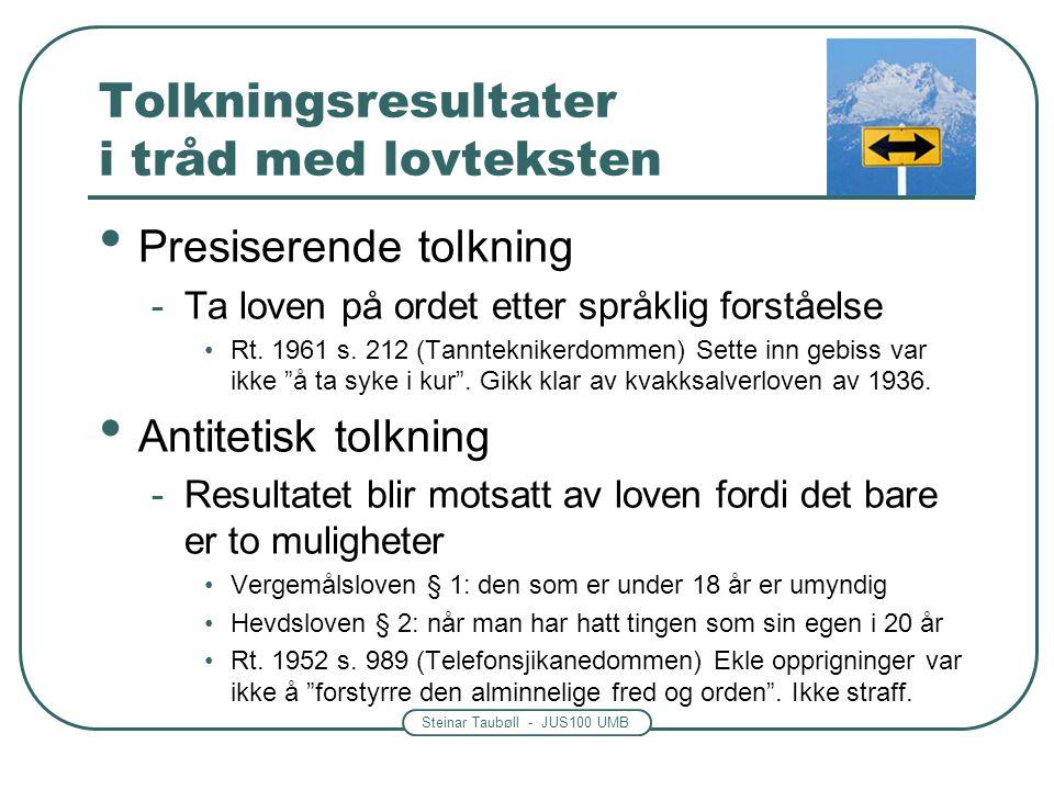 Steinar Taubøll - JUS100 UMB Tolkningsresultater i tråd med lovteksten • Presiserende tolkning -Ta loven på ordet etter språklig forståelse •Rt. 1961
