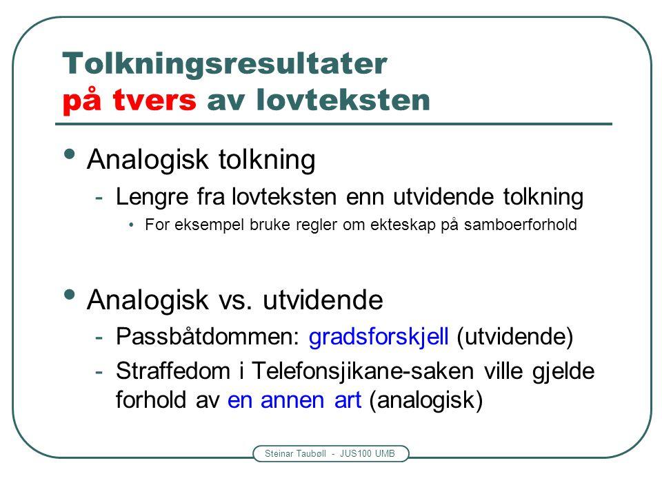 Steinar Taubøll - JUS100 UMB Tolkningsresultater på tvers av lovteksten • Analogisk tolkning -Lengre fra lovteksten enn utvidende tolkning •For eksempel bruke regler om ekteskap på samboerforhold • Analogisk vs.