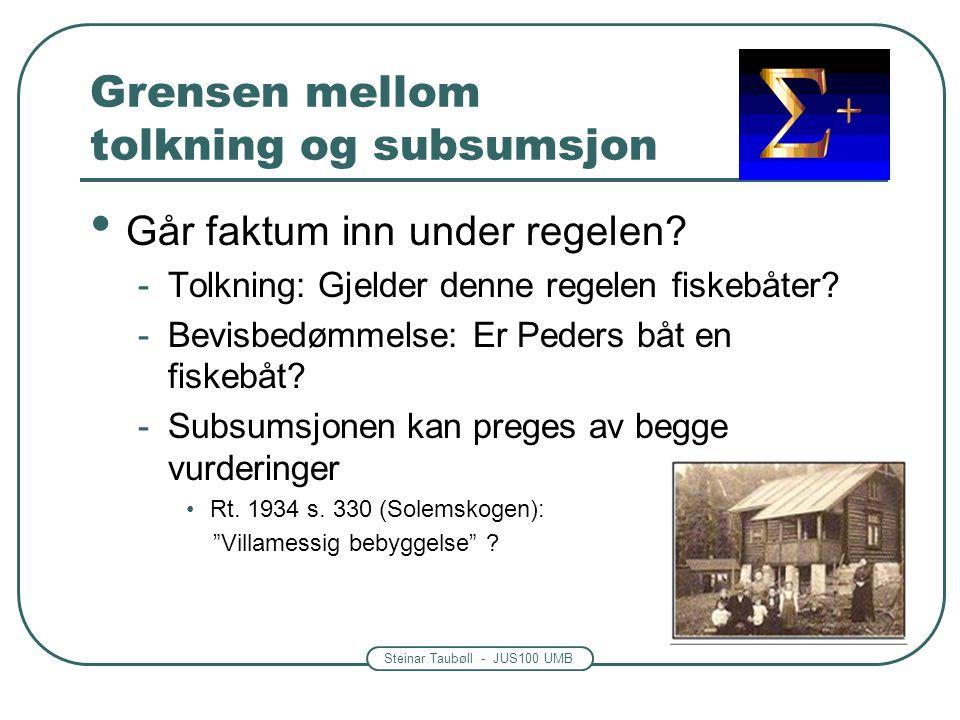 Steinar Taubøll - JUS100 UMB Grensen mellom tolkning og subsumsjon • Går faktum inn under regelen? -Tolkning: Gjelder denne regelen fiskebåter? -Bevis