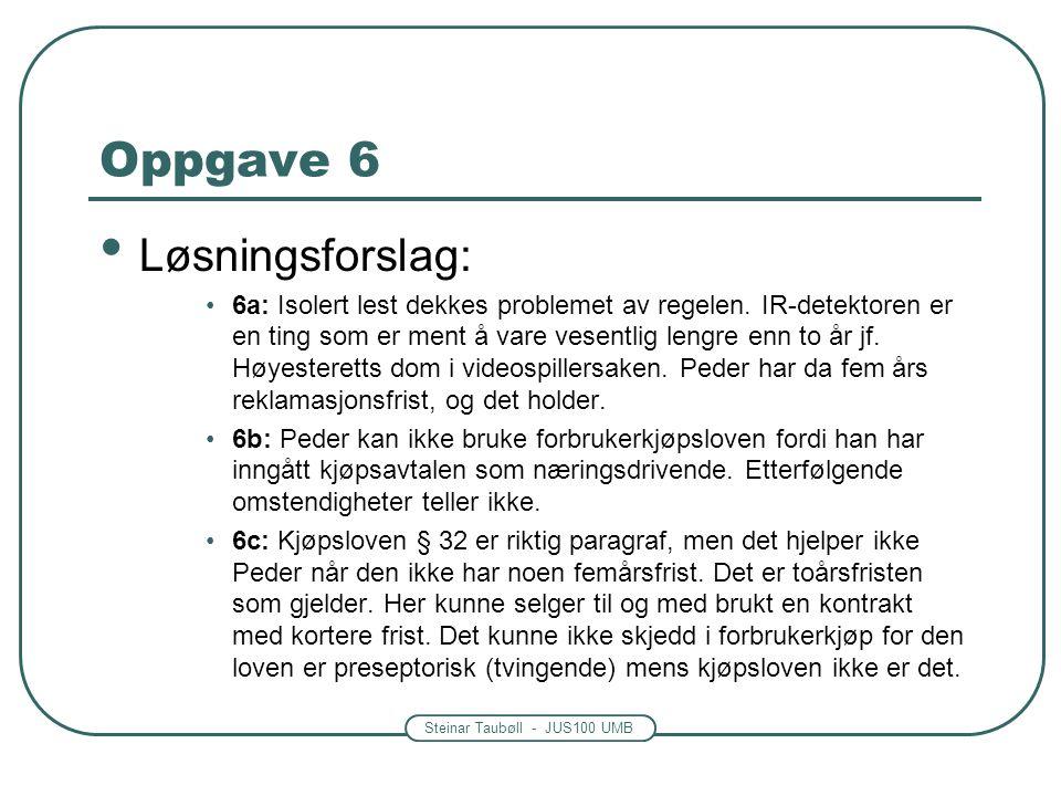 Steinar Taubøll - JUS100 UMB Oppgave 6 • Løsningsforslag: •6a: Isolert lest dekkes problemet av regelen. IR-detektoren er en ting som er ment å vare v