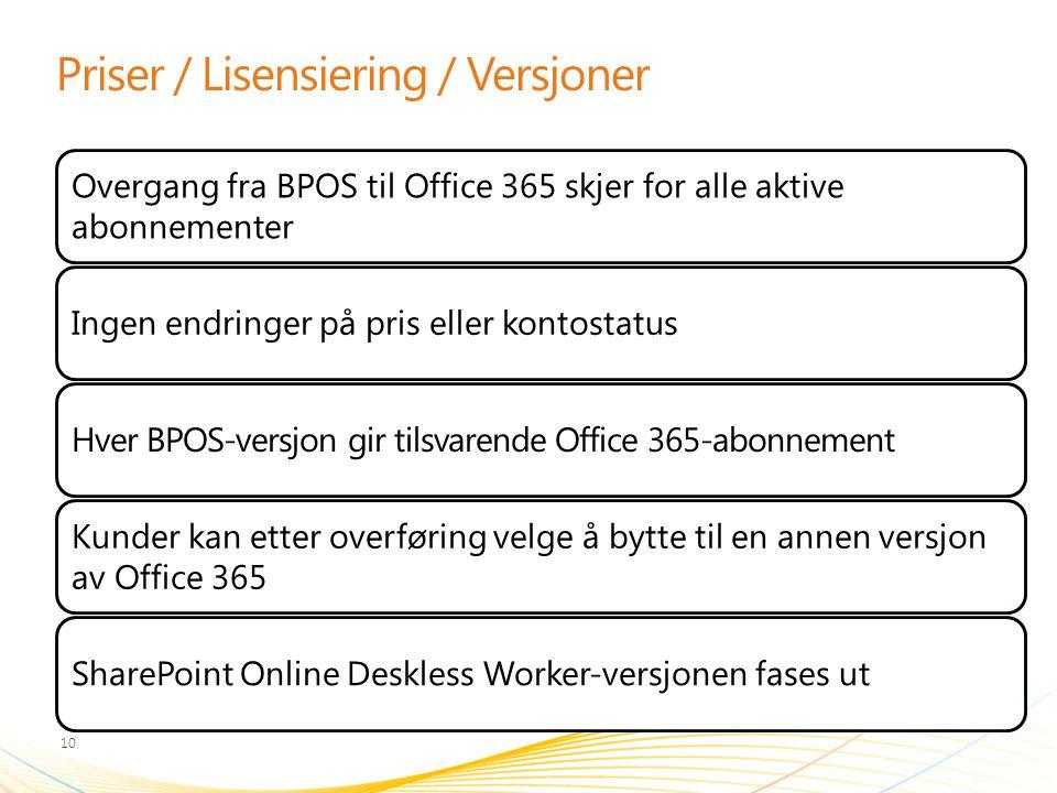 Priser / Lisensiering / Versjoner Overgang fra BPOS til Office 365 skjer for alle aktive abonnementer Ingen endringer på pris eller kontostatusHver BP