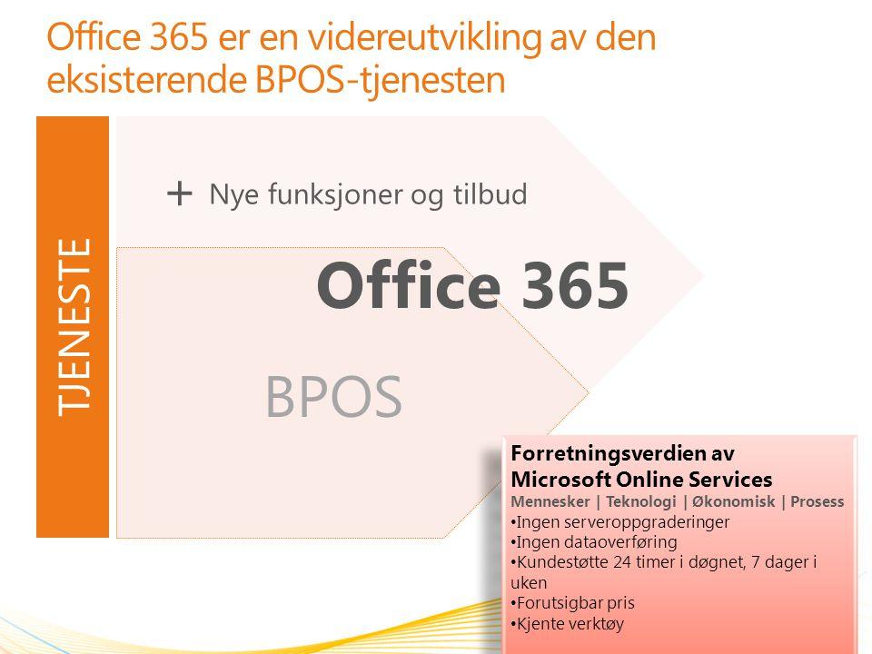 BPOS Office 365 er en videreutvikling av den eksisterende BPOS-tjenesten 2 Office 365 Forretningsverdien av Microsoft Online Services Mennesker | Tekn