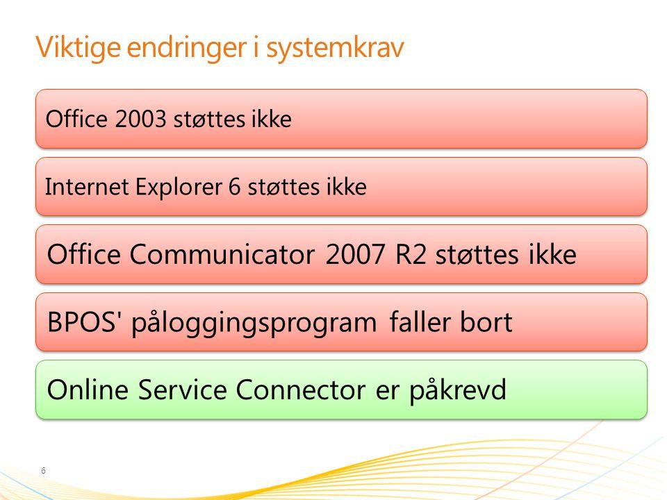 Viktige endringer i systemkrav 6 Office 2003 støttes ikkeInternet Explorer 6 støttes ikke Office Communicator 2007 R2 støttes ikkeBPOS' påloggingsprog