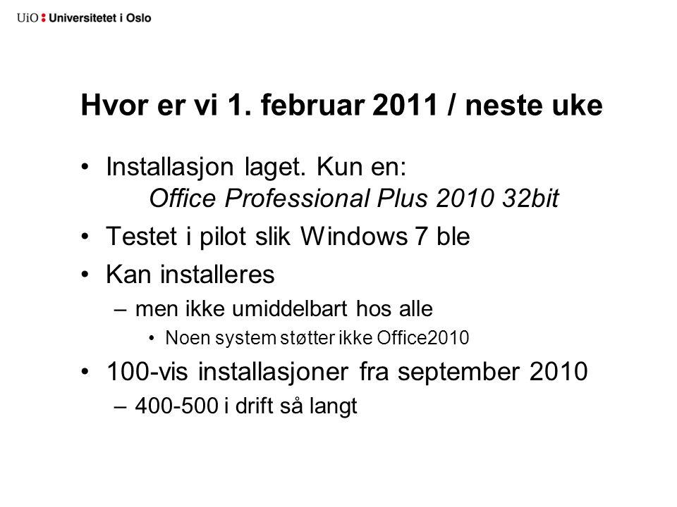 Hvordan installere •I PXE på nye installasjoner som bruker -> •P:\lisens\microsoft\campus\Office\2010\...