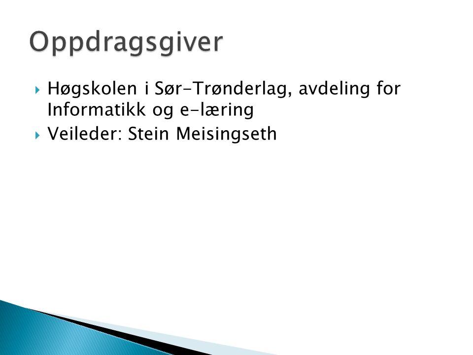  Høgskolen i Sør-Trønderlag, avdeling for Informatikk og e-læring  Veileder: Stein Meisingseth