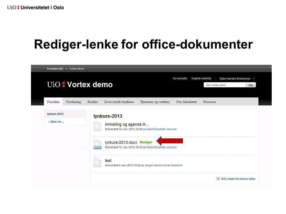 Rediger-lenke for office-dokumenter