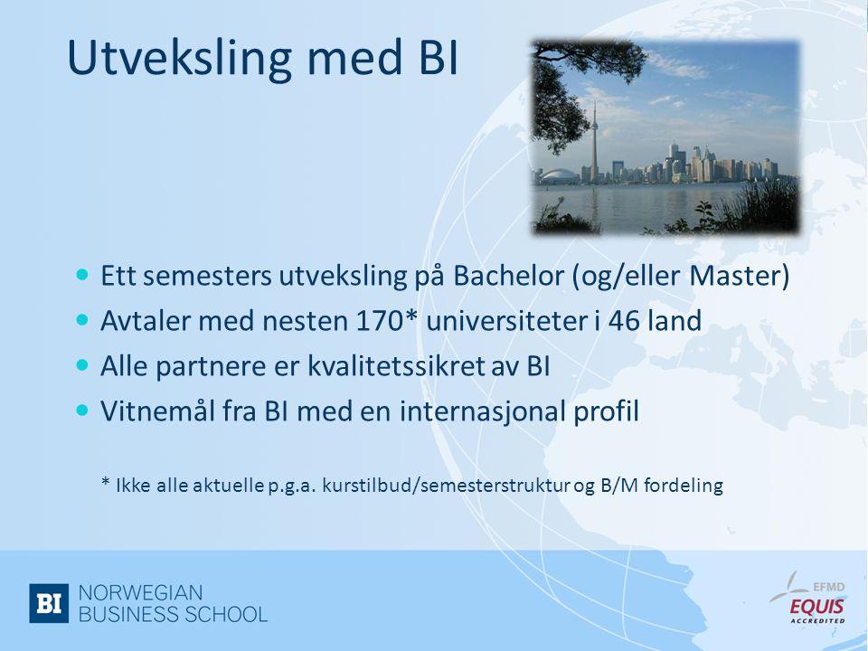 Utveksling med BI  Ett semesters utveksling på Bachelor (og/eller Master)  Avtaler med nesten 170* universiteter i 46 land  Alle partnere er kvalitetssikret av BI  Vitnemål fra BI med en internasjonal profil * Ikke alle aktuelle p.g.a.