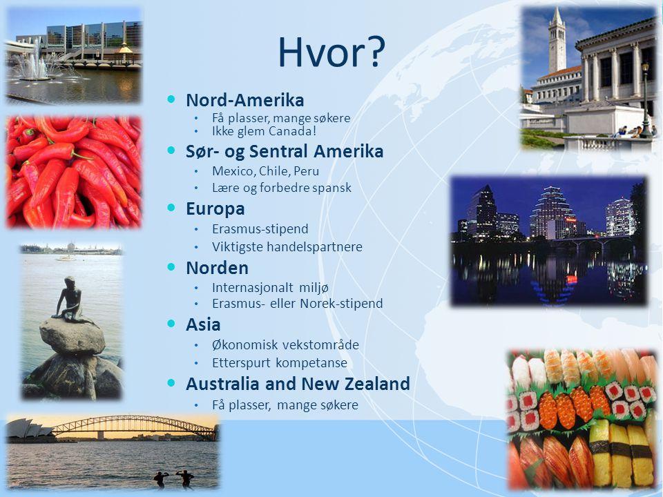 Hvor?  Nord-Amerika • Få plasser, mange søkere • Ikke glem Canada!  Sør- og Sentral Amerika • Mexico, Chile, Peru • Lære og forbedre spansk  Europa