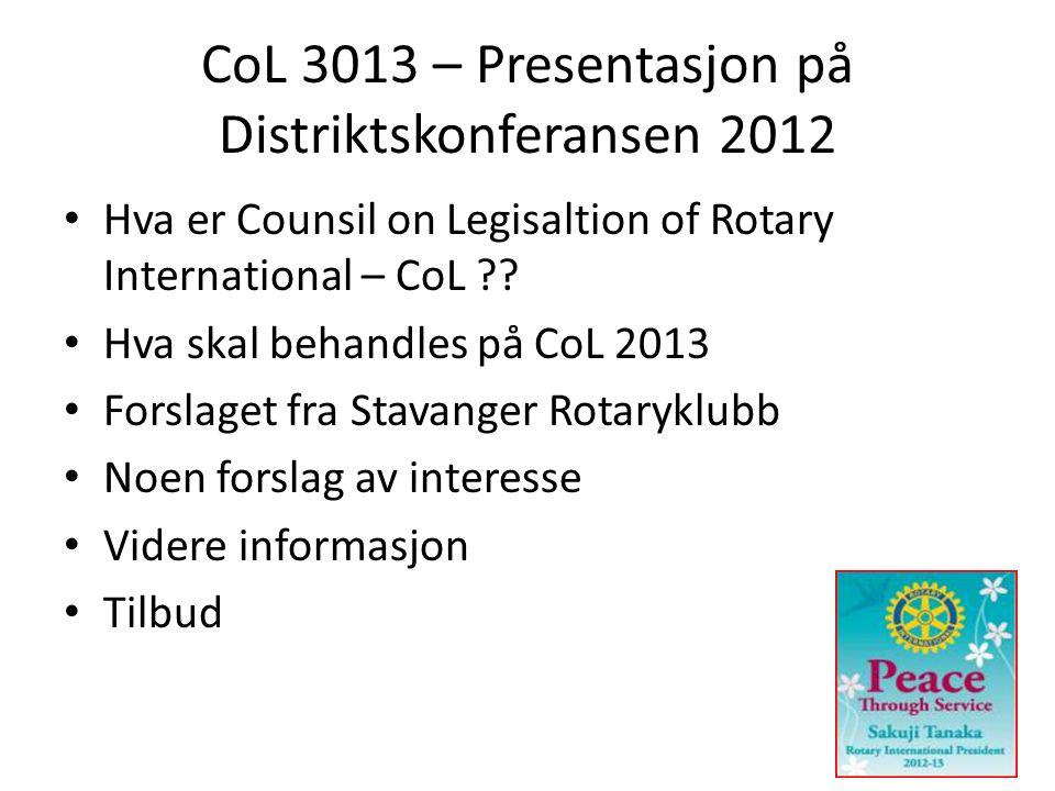 CoL 3013 – Presentasjon på Distriktskonferansen 2012 • Hva er Counsil on Legisaltion of Rotary International – CoL .