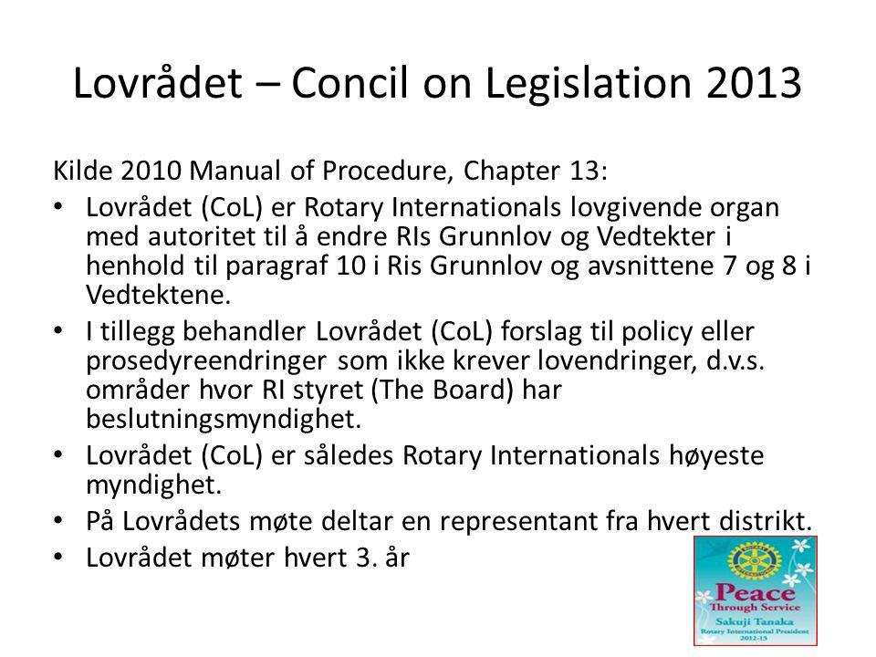 Lovrådet – Concil on Legislation 2013 Kilde 2010 Manual of Procedure, Chapter 13: • Lovrådet (CoL) er Rotary Internationals lovgivende organ med autoritet til å endre RIs Grunnlov og Vedtekter i henhold til paragraf 10 i Ris Grunnlov og avsnittene 7 og 8 i Vedtektene.