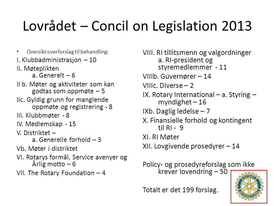Lovrådet – Concil on Legislation 2013 • Oversikt overforslag til behandling: I.